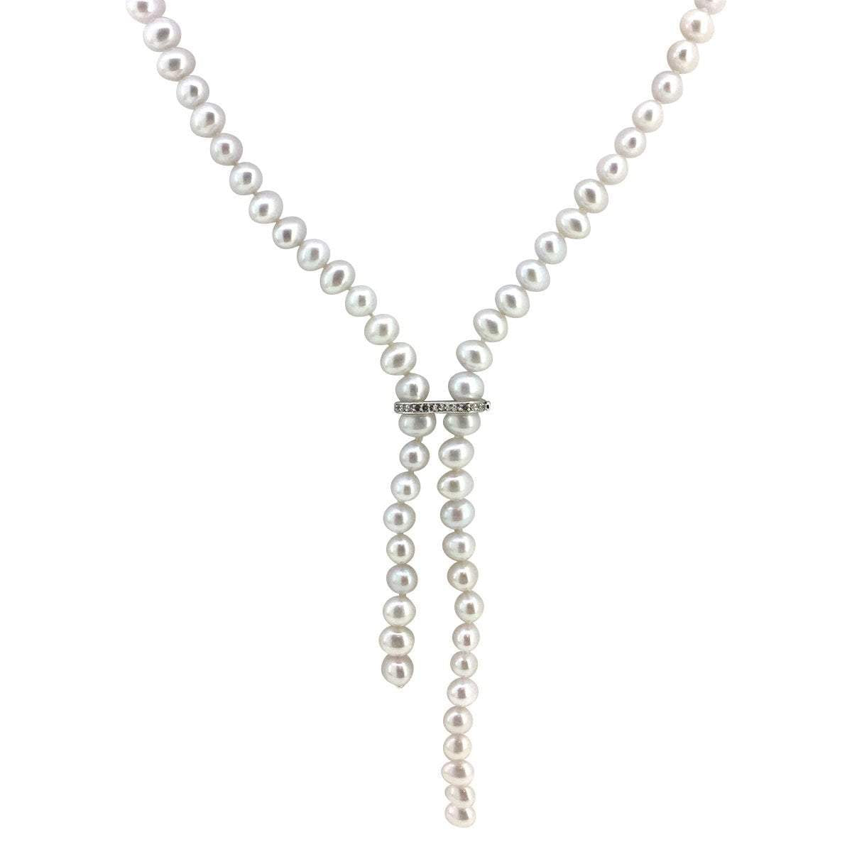 Freshwater Pearl Necklace with Adustable White Topaz Accent Closure