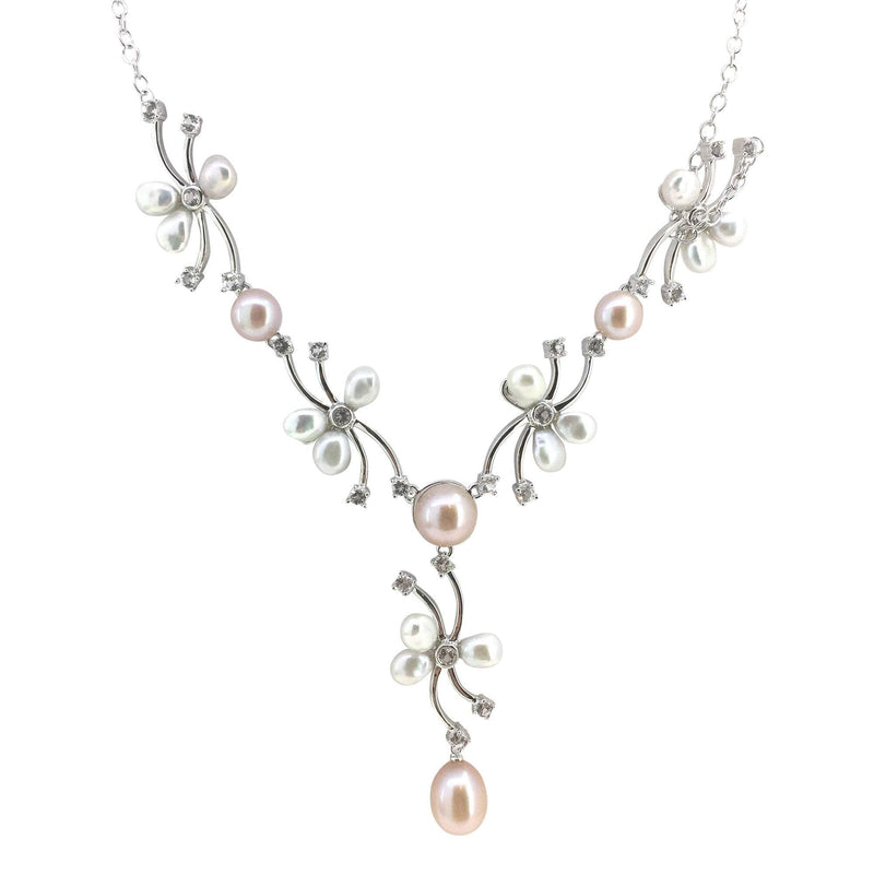 Freshwater Pearl & White Topaz Flower Necklace