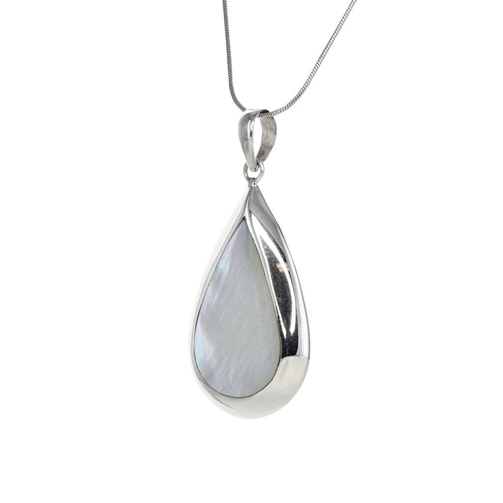 Mother of Pearl Teardrop Pendant in Sterling Silver