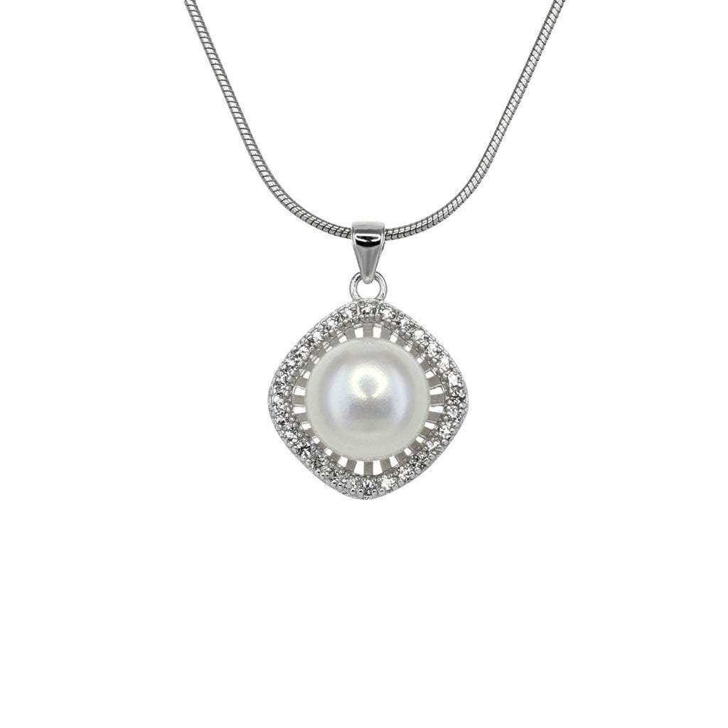 Small Freshwater Pearl Solitaire Pendant in Sterling Silver