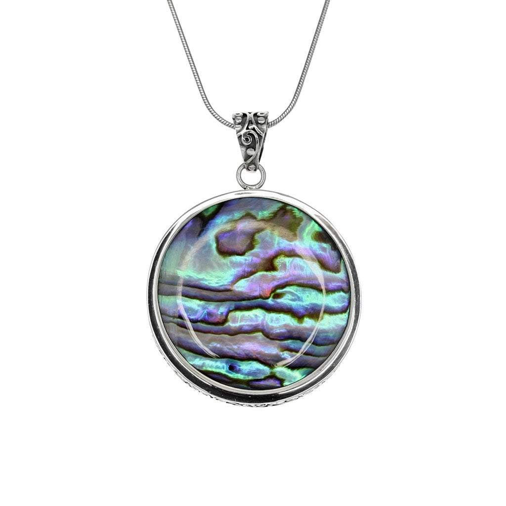 Circle Red Coral and Abalone Pendant in detailed Sterling Silver
