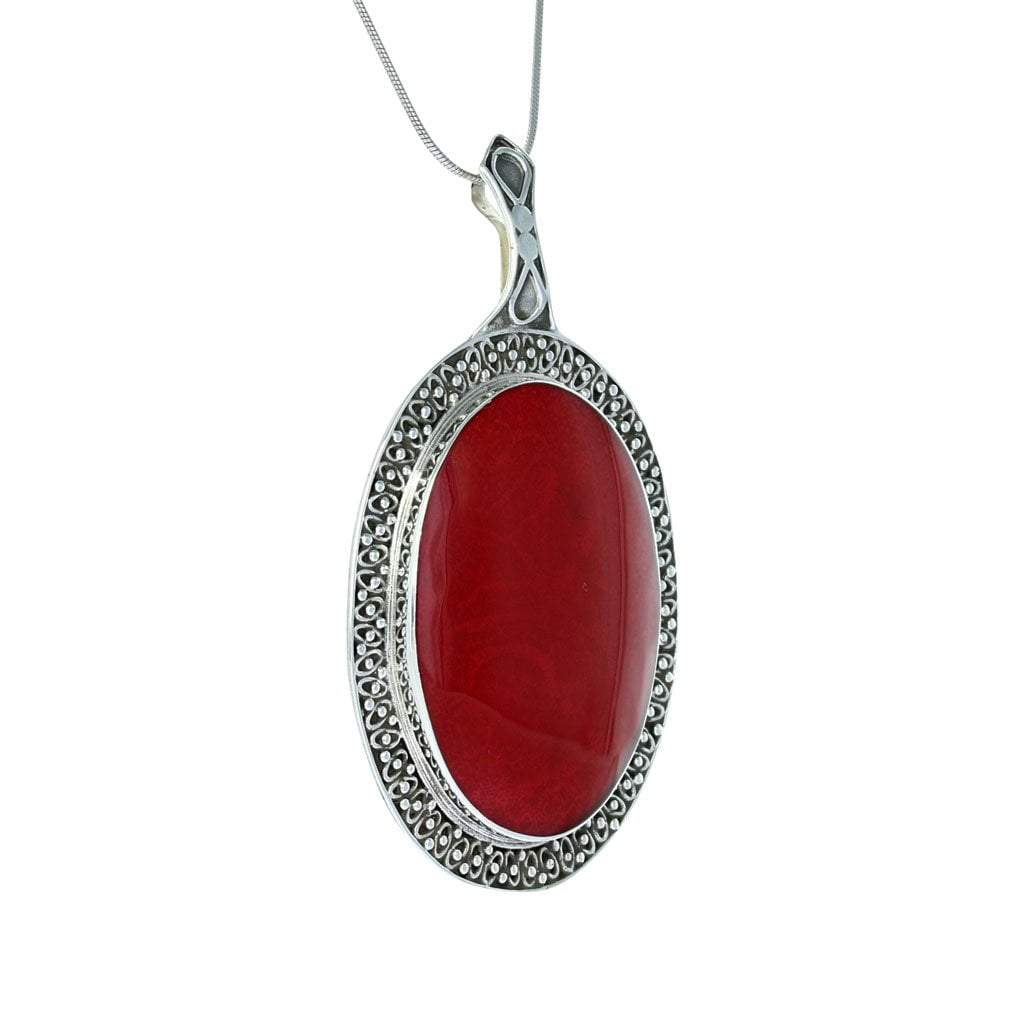 Coral Oval Pendant with Filigree Detail