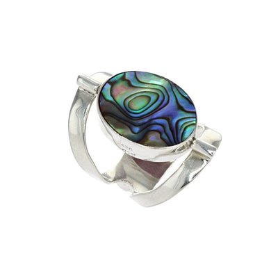 Reversible Coral and Abalone Ring