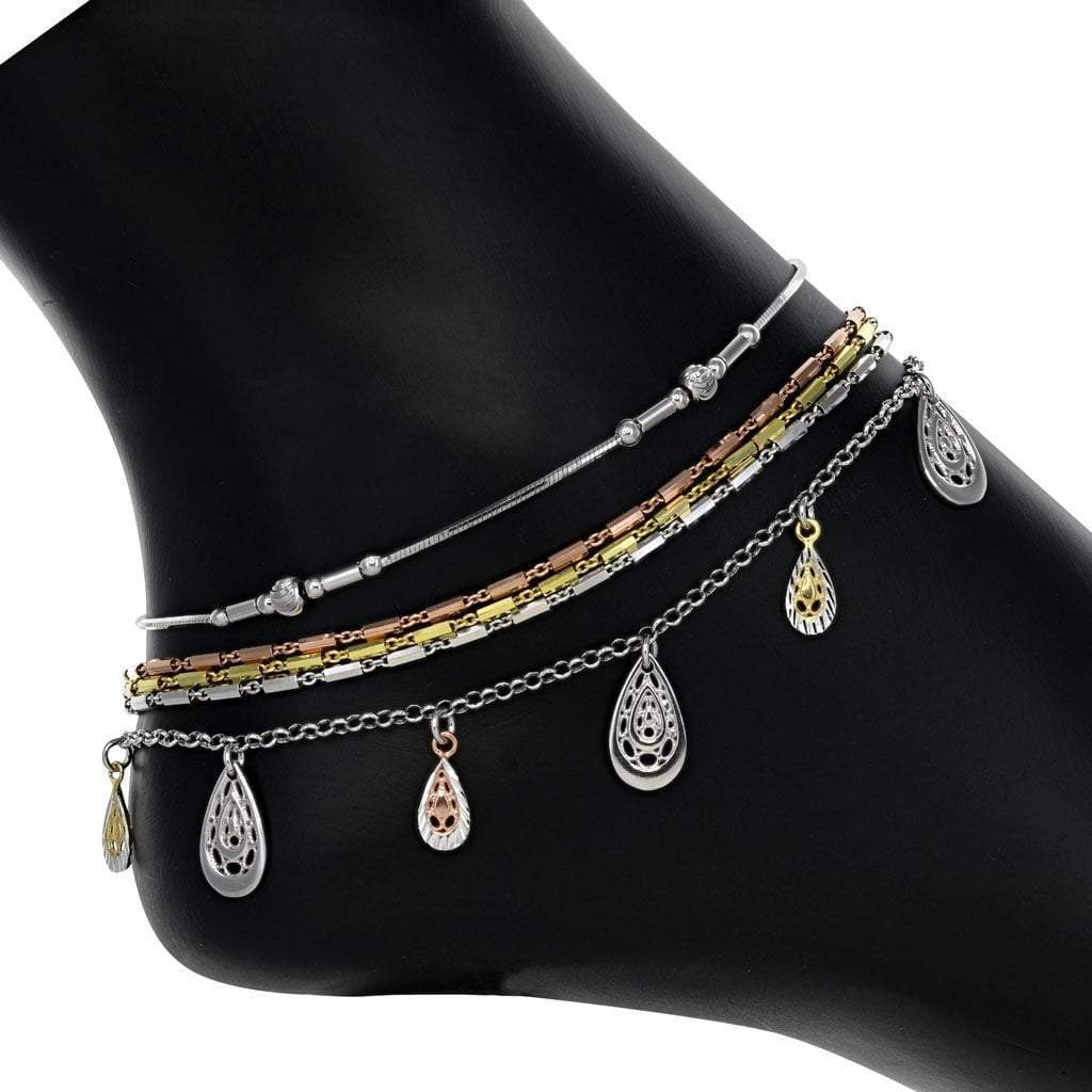 Dangly Tri-color Anklet Set in Sterling Silver with Rhodium, Rose, and Gold Overlay