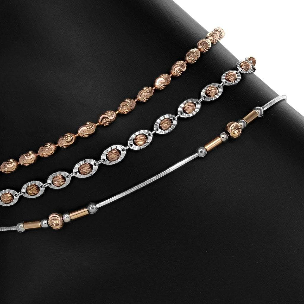 Rose Anklet set in Sterling Silver with Rhodium and Rose Gold Overlay