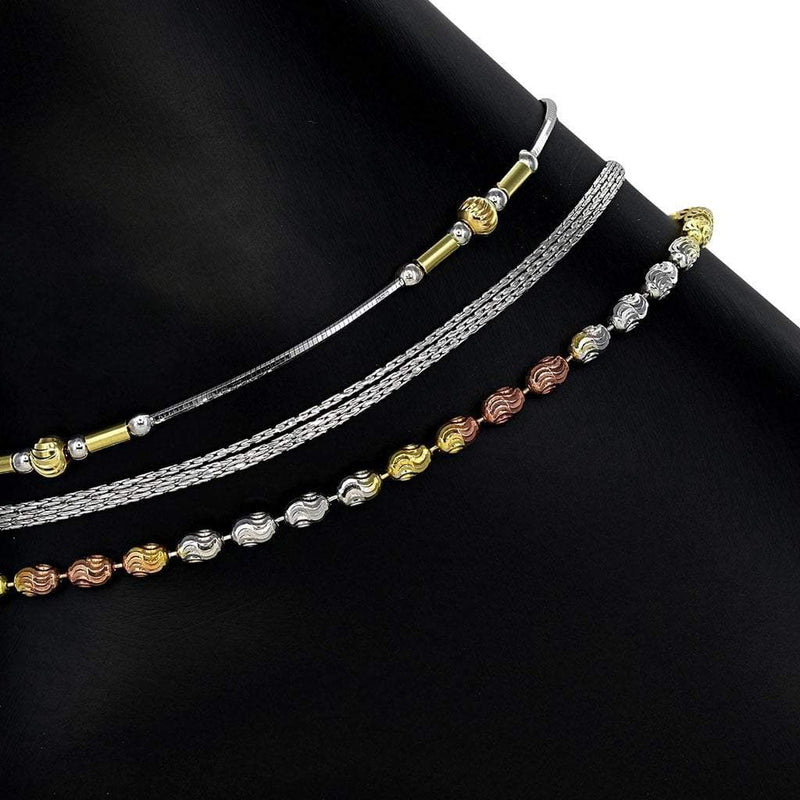 Tri-color Anklet Set in Sterling Silver with Rhodium, Gold, and Rose Gold Overlay