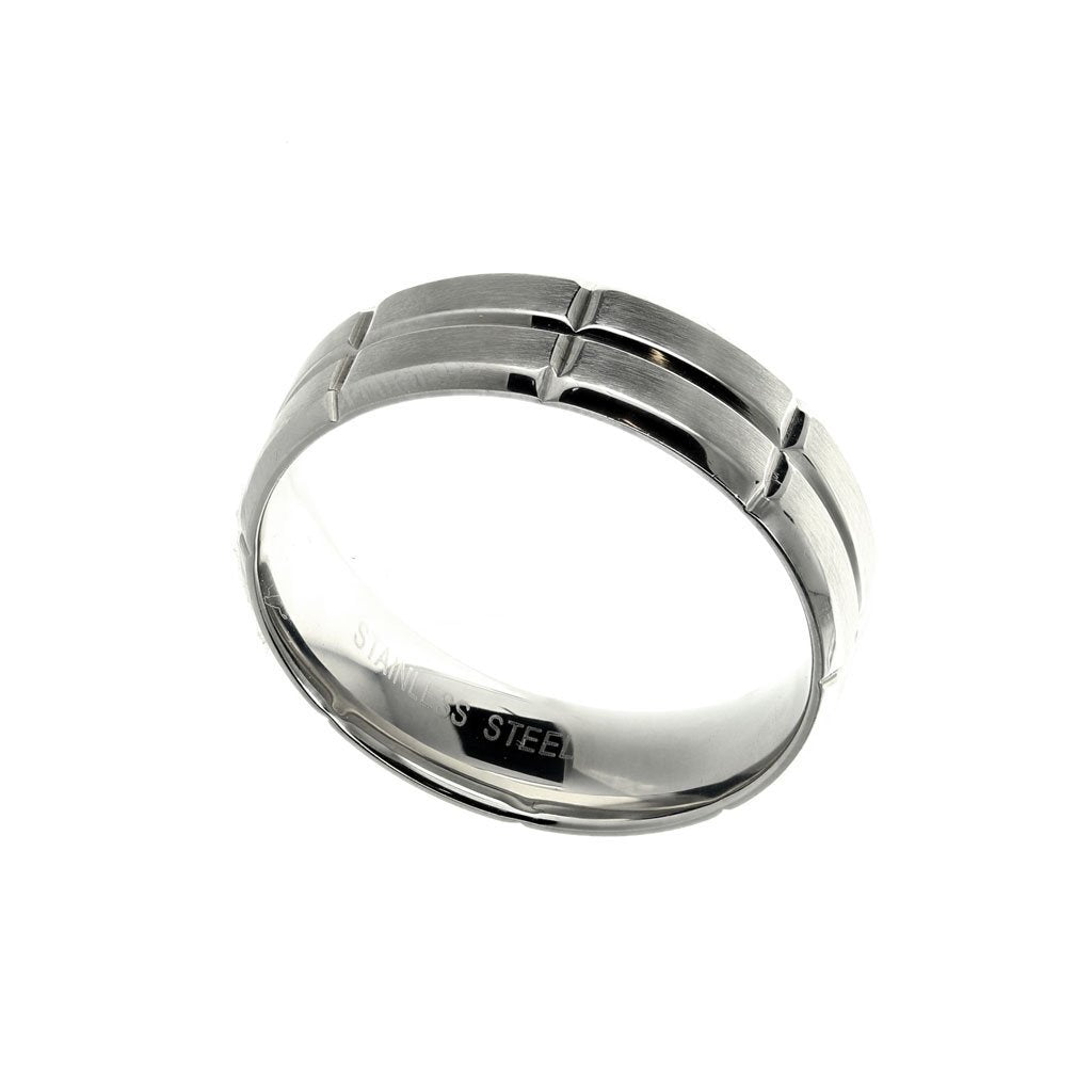 Stainless Steel Ring with Rectangular Brushed Segments