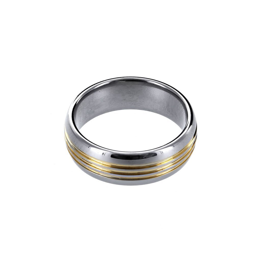 Tungsten Ring with Grooved 18K Gold Plating