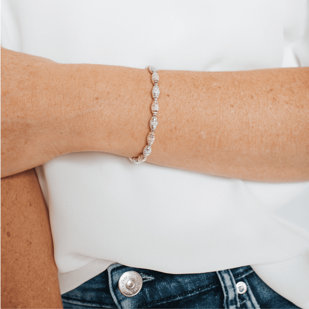Private Collection Adjustable Silver + Rose Gold Textured Bead Friendship Bracelet