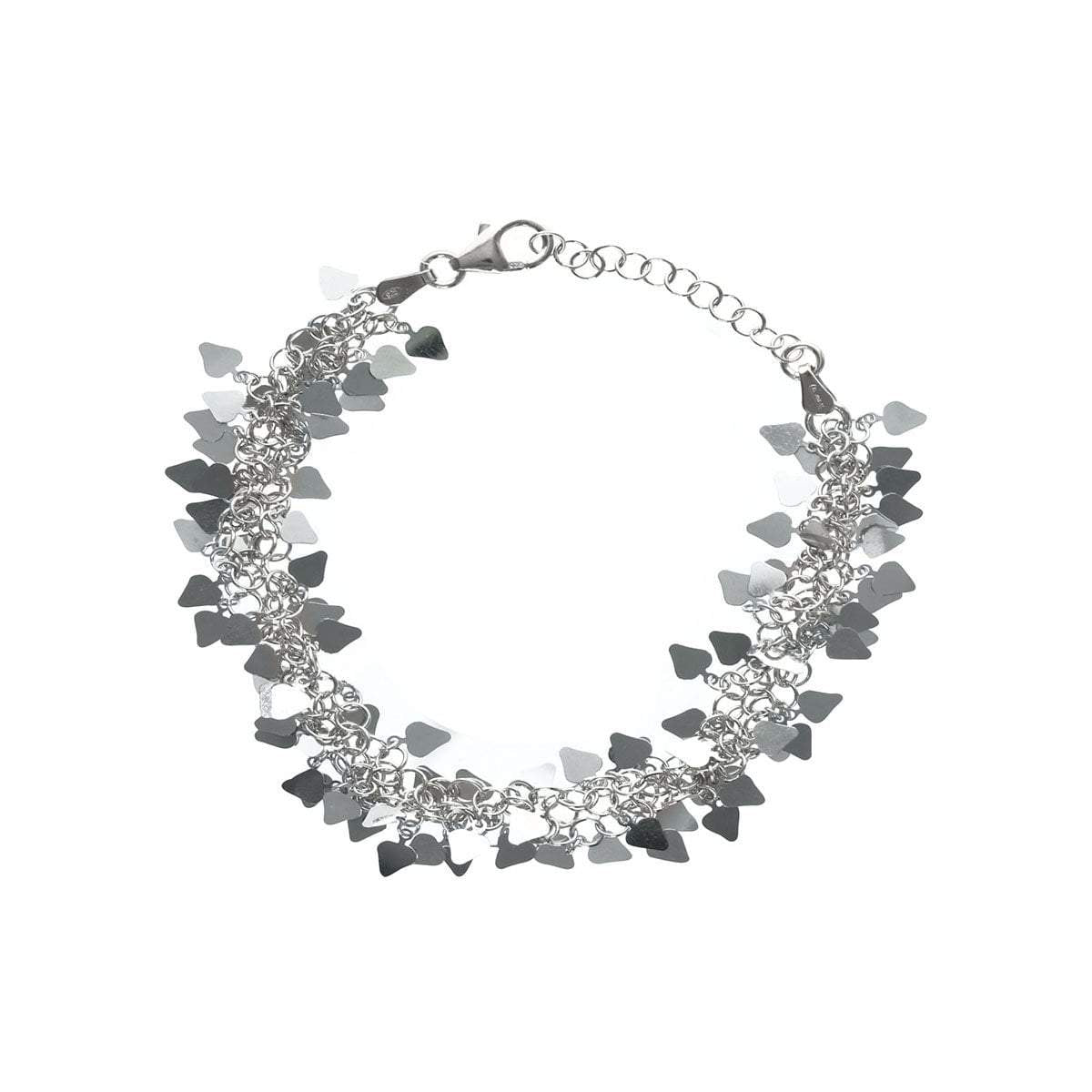 Multi-Heart Tag Bracelet in Sterling Silver with Rhodium Finish