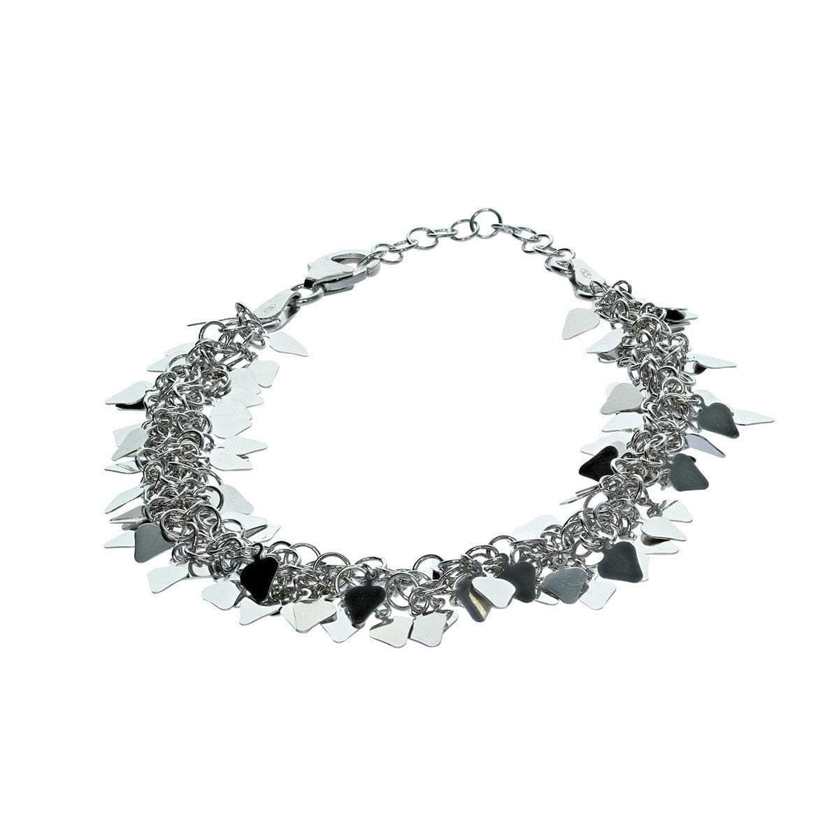 Roma Private Collection Bracelets Default Title / Silver Multi-Heart Tag Bracelet in Sterling Silver with Rhodium Finish 1150211