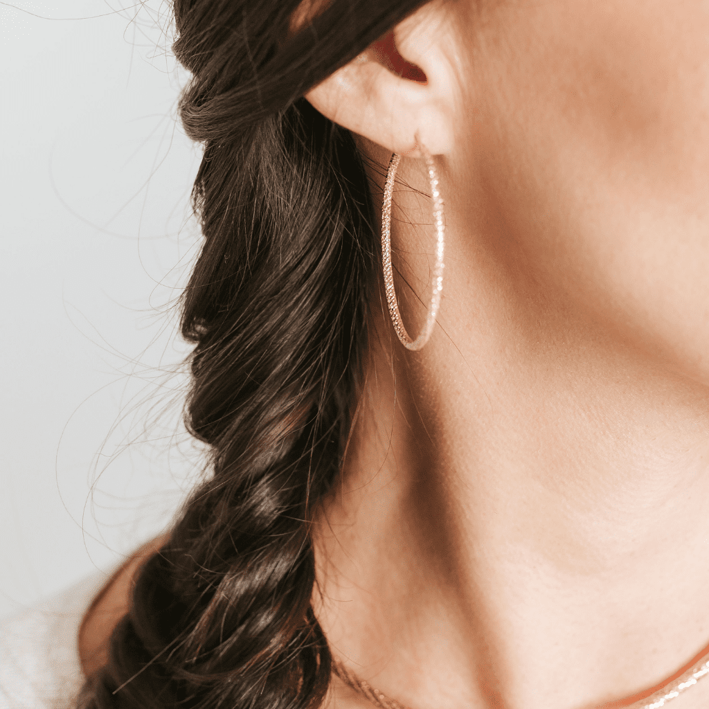 Private Collection Large Hoop Earrings in Rose Gold Overlay