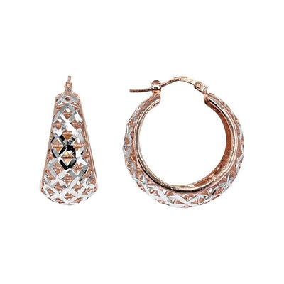 Private Collection Silver and Rose Gold Lattice Hoop Earrings