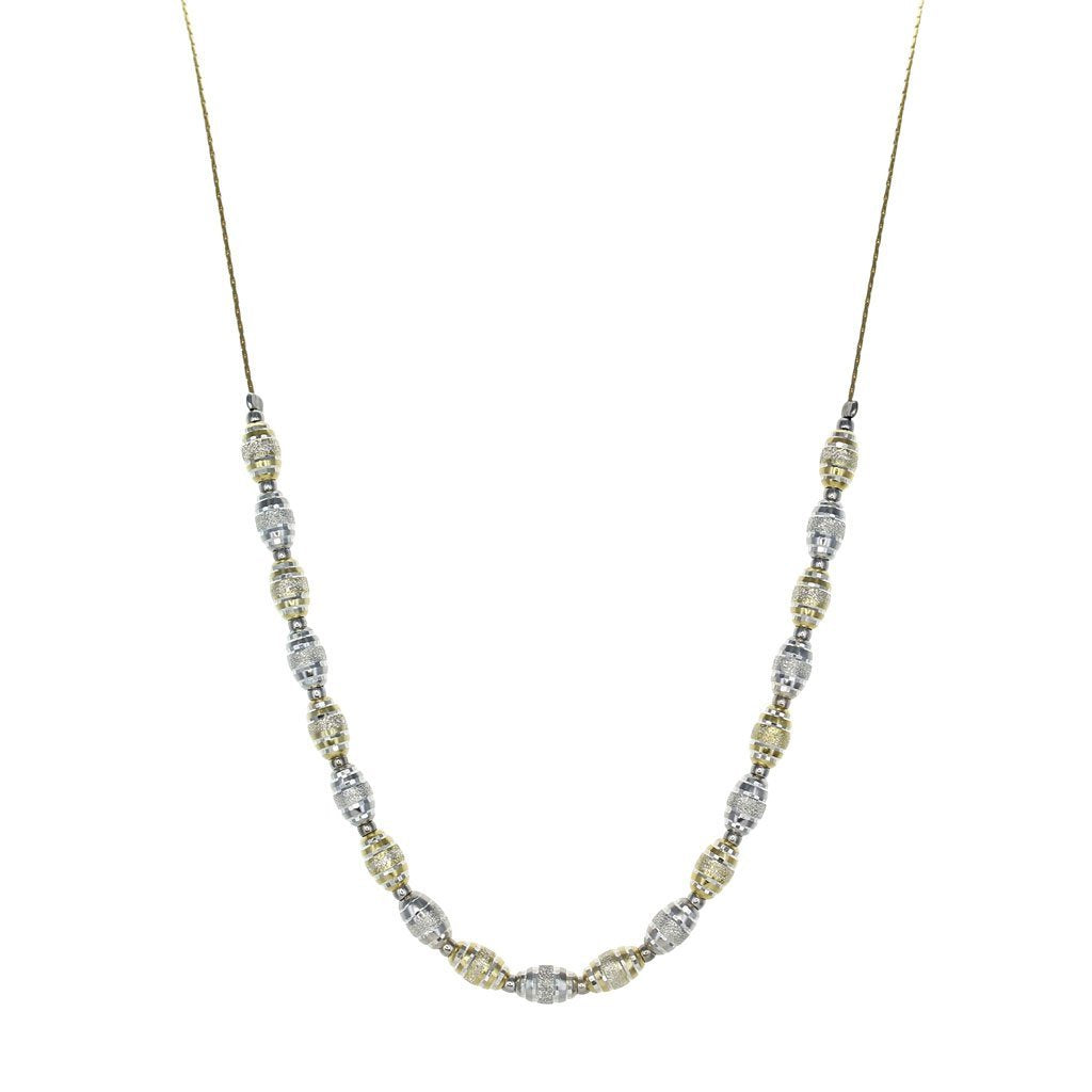 Private Collection Silver & Gold Textured Bead Necklace