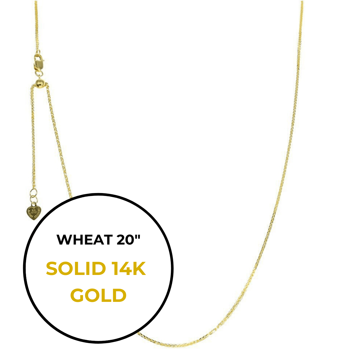 "20"" 14K Gold Wheat Adjustable Chain"