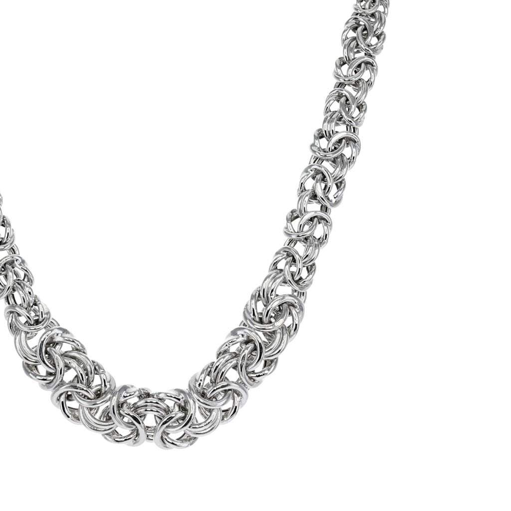 Private Collection Oval Byzantine Necklace in Rhodium Overlay
