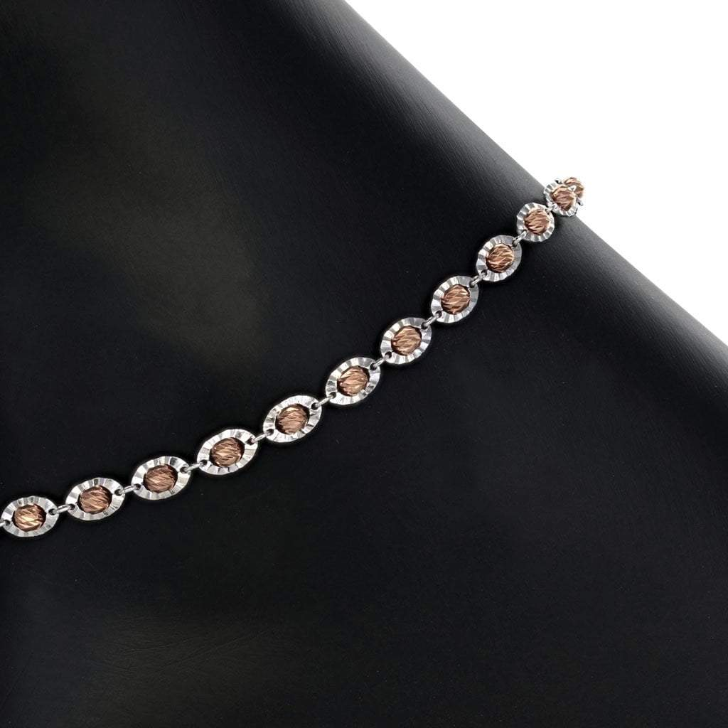 Roma Silver Collection Anklet Saturn Bead Anklet with Rose Gold and Rhodium Finish