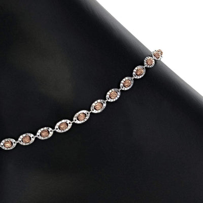 Saturn Bead Anklet with Rose Gold and Rhodium Finish