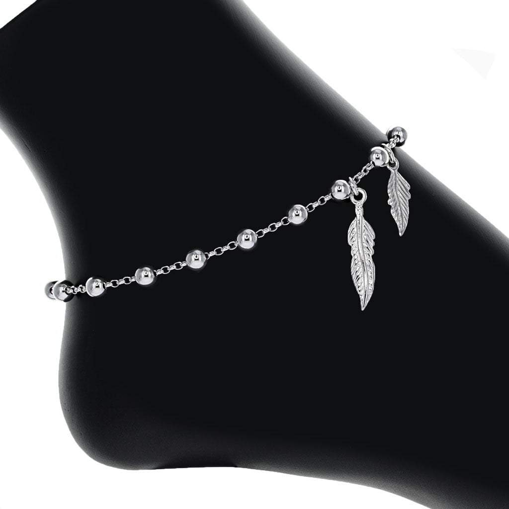 Sterling Silver Bead Anklet with Feather Detail