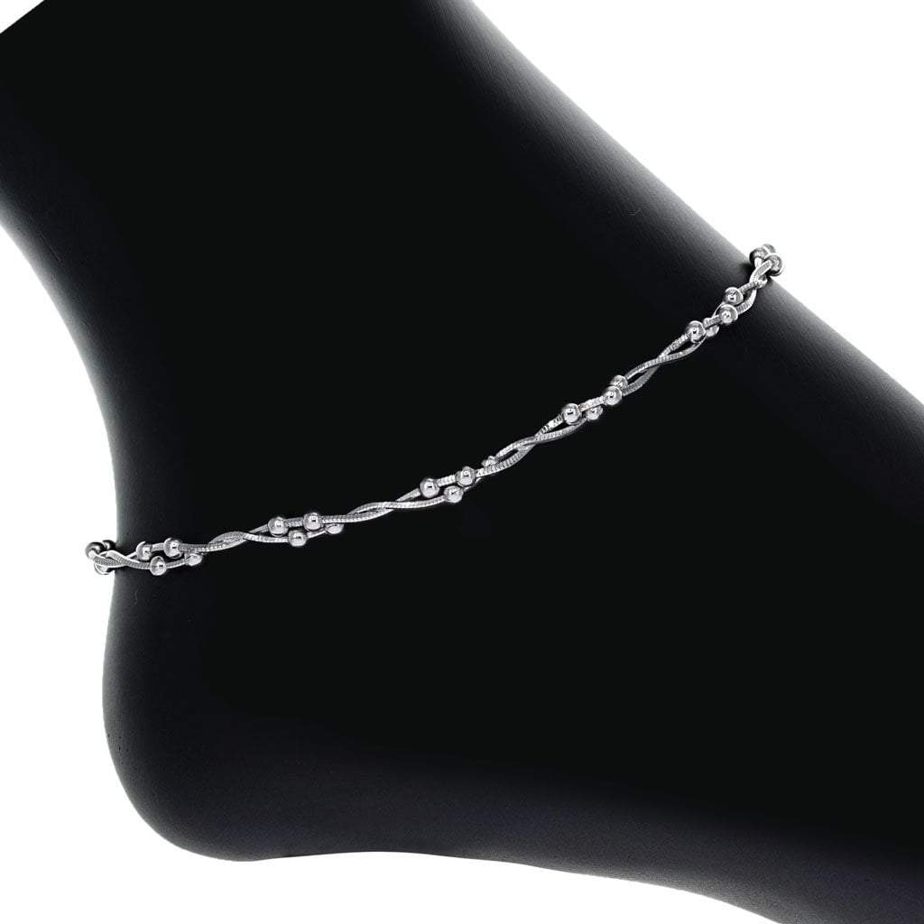 Sterling Silver Twisted Strand Bead Anklet in Rhodium Overlay