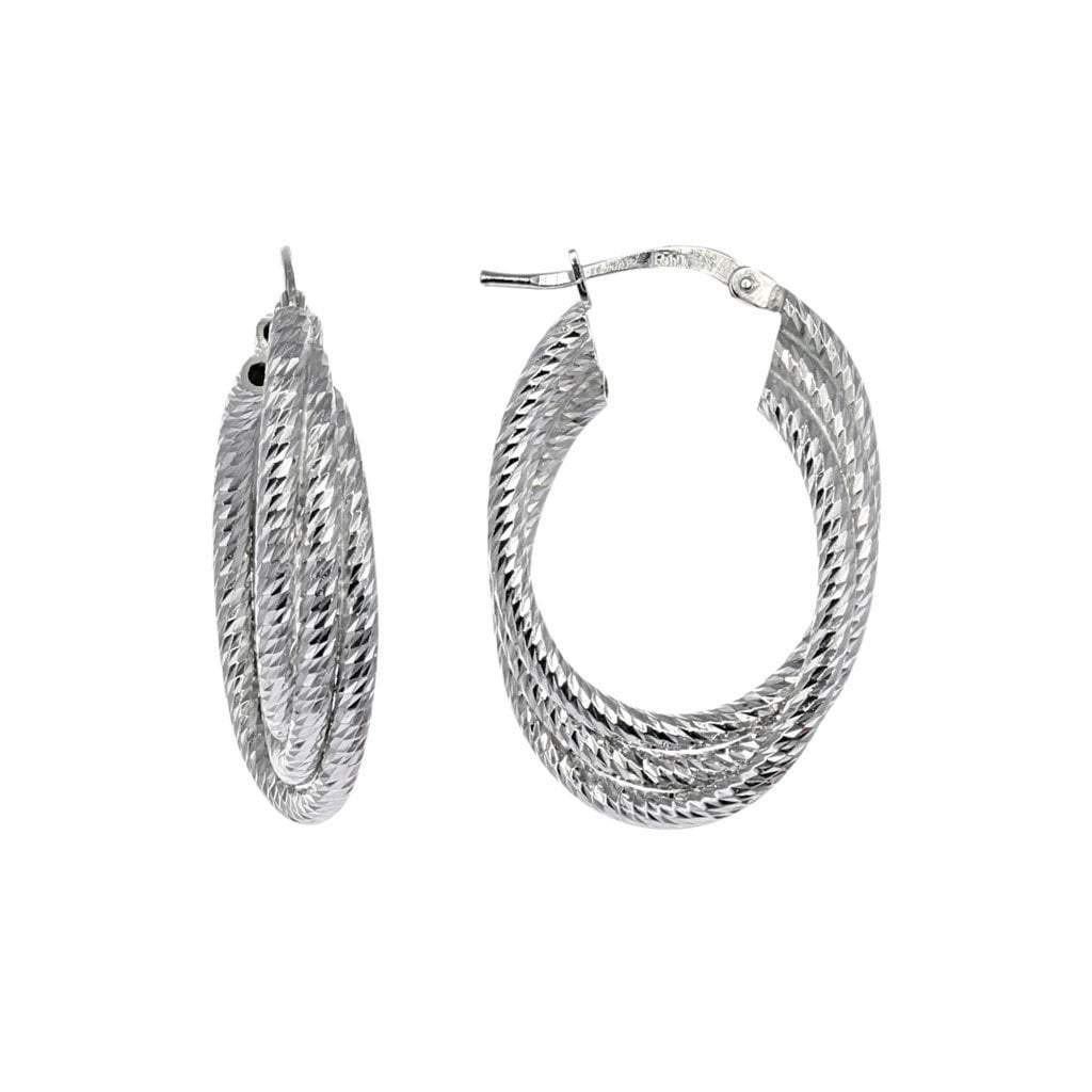 Small Oval Layered Hoop Earrings in Sterling Silver