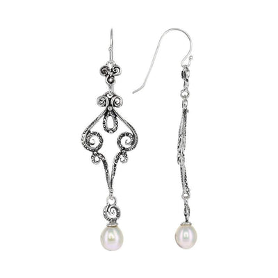 Sterling Silver Fancy Dangle Earrings with Pearl Detail
