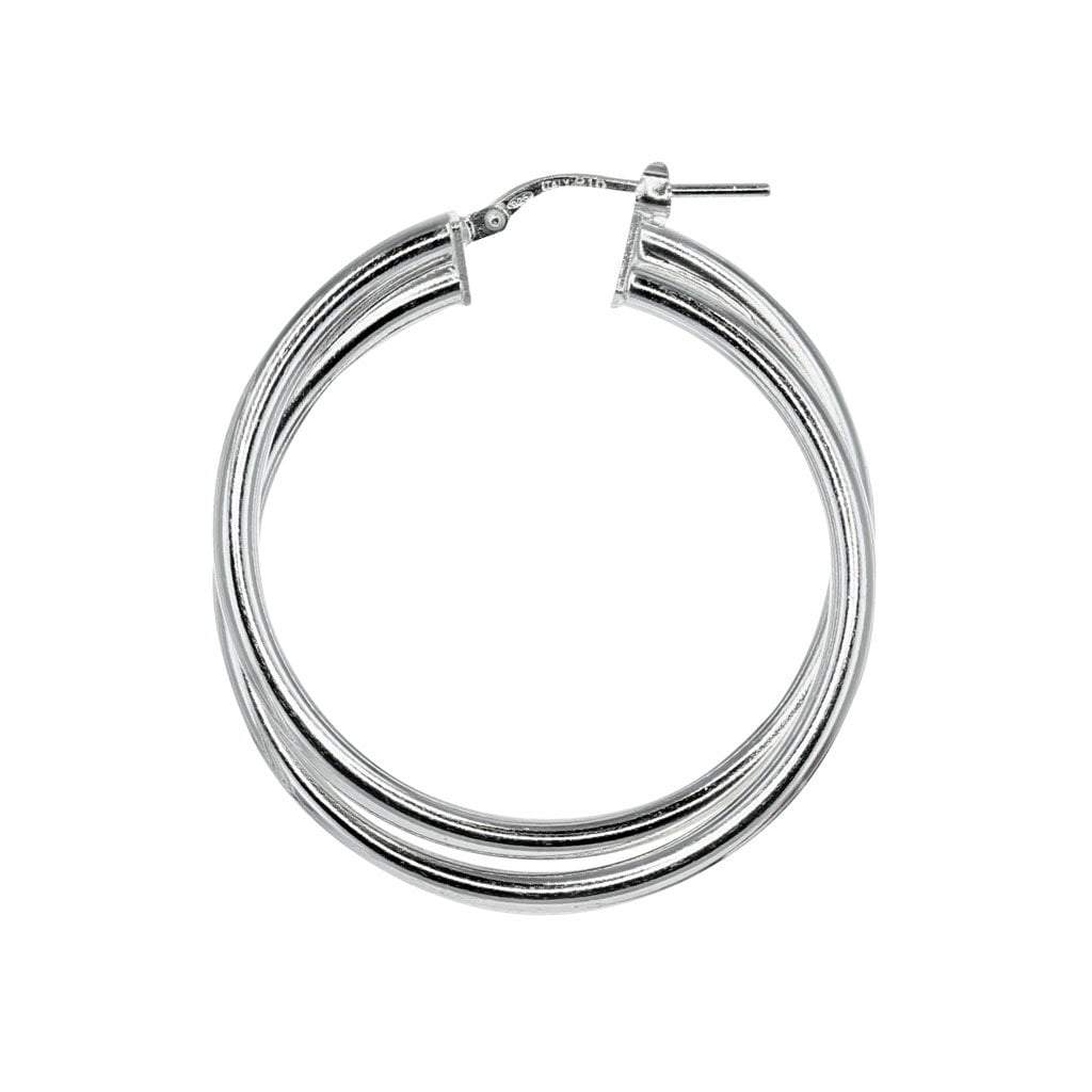 Roma Silver Collection Earrings Default Title / Silver Twisted Hoop Earrings in Sterling Silver