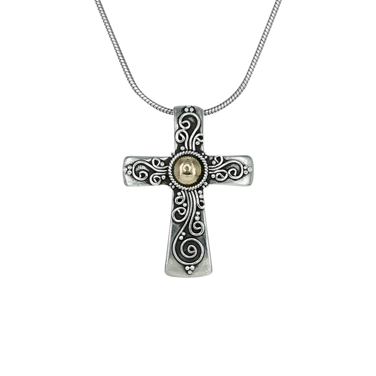 Sterling Silver Cross Pendant in Detailed Sterling Silver