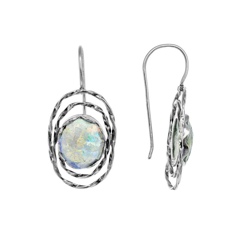 Roman Glass Oval Earrings in Detailed Sterling Silver