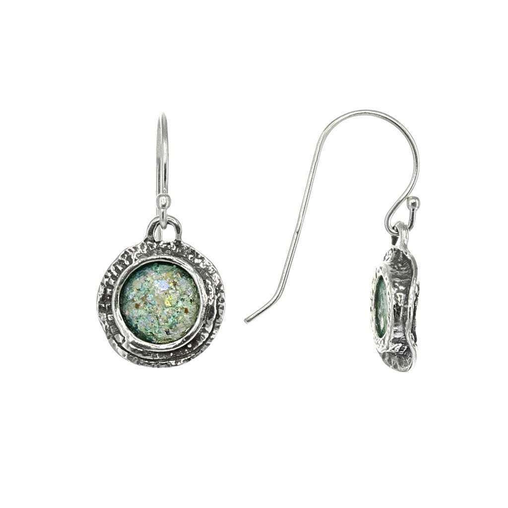 Roman Glass Small Circle Earrings in Wavy Sterling