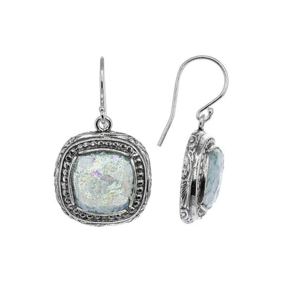 Roman Glass Small Square Earrings with Patina in Sterling Silver