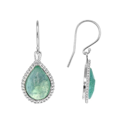 Translucent Roman Glass Teardrop Earrings in Sterling Silver