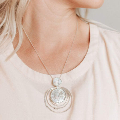 Roman Glass 2-Piece Necklace with Sterling Concentric Circles