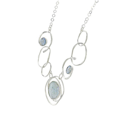 Roman Glass Joined Circles Sterling Silver Necklace