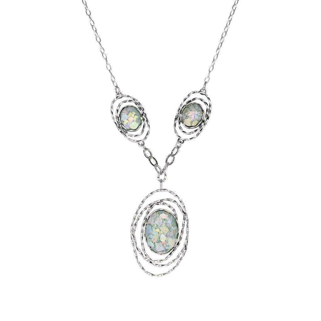 Roman Glass 3-Piece Patina Necklace in Sterling Silver