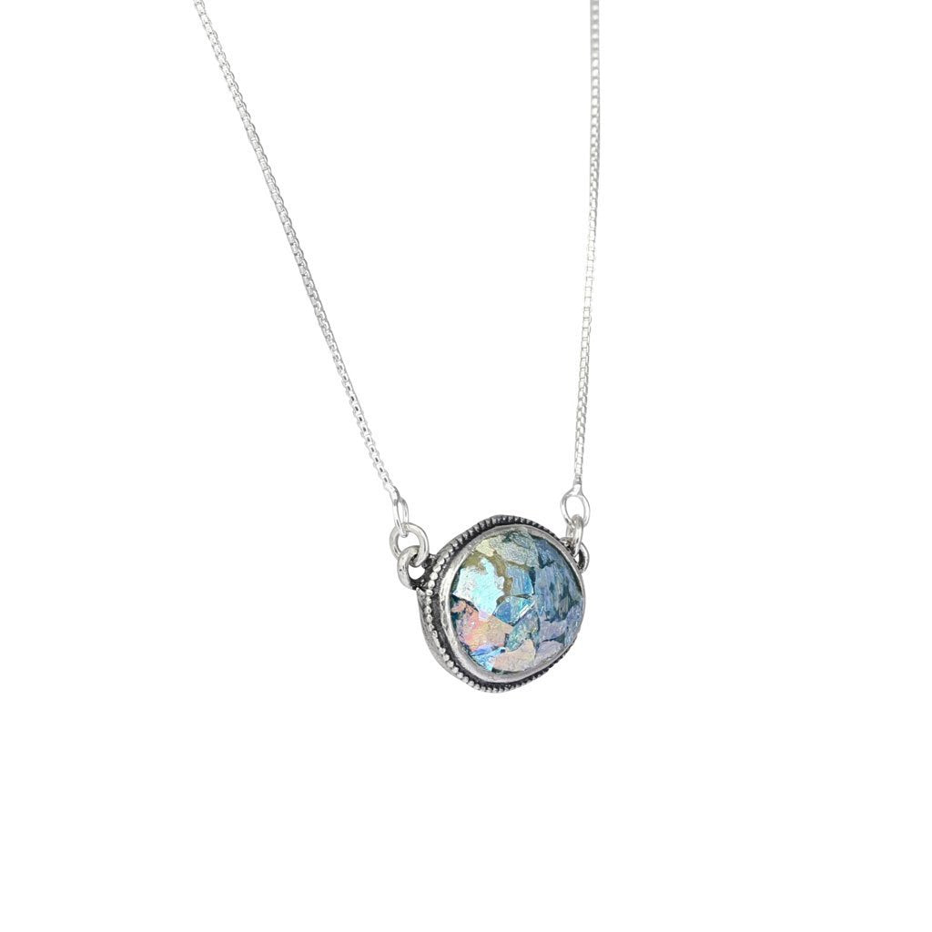 Roman Glass Oval Necklace with Patina in Sterling Silver
