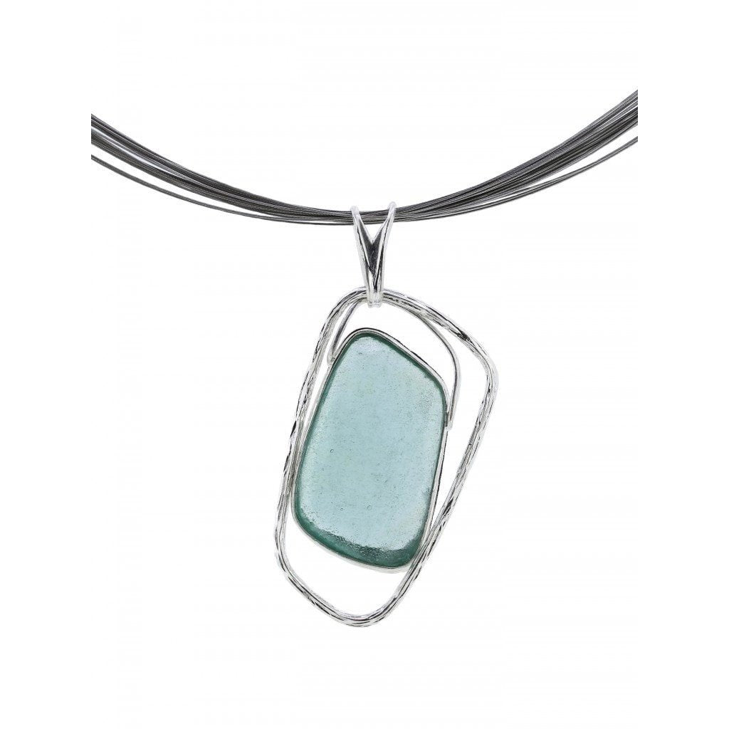 Roman Glass Jewelry Necklaces Default Title / Blue / Green Roman Glass Translucent Pendant with Stainless Steel Band Necklace