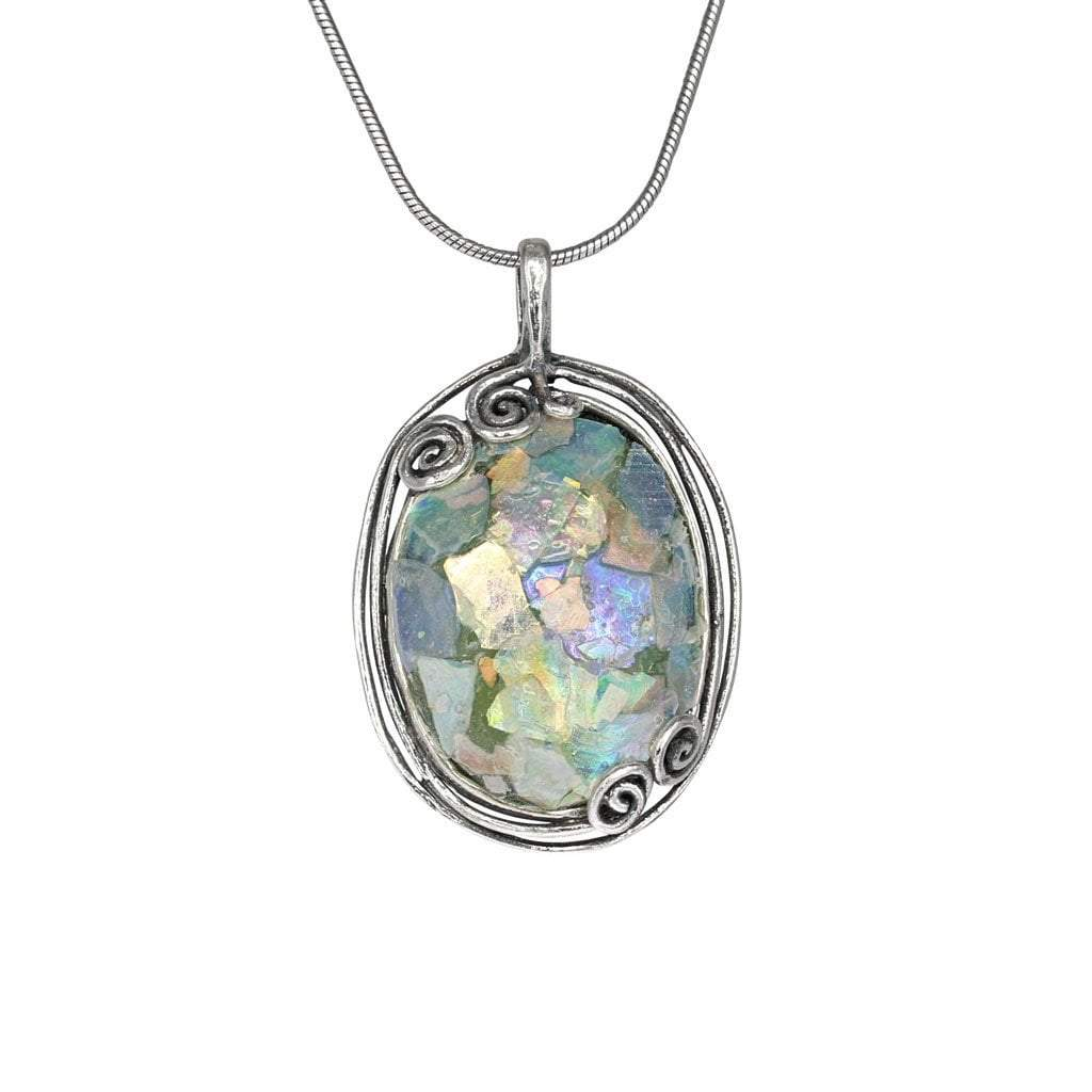 Roman Glass Oval Pendant with Patina and Swirl Detail in Sterling Silver