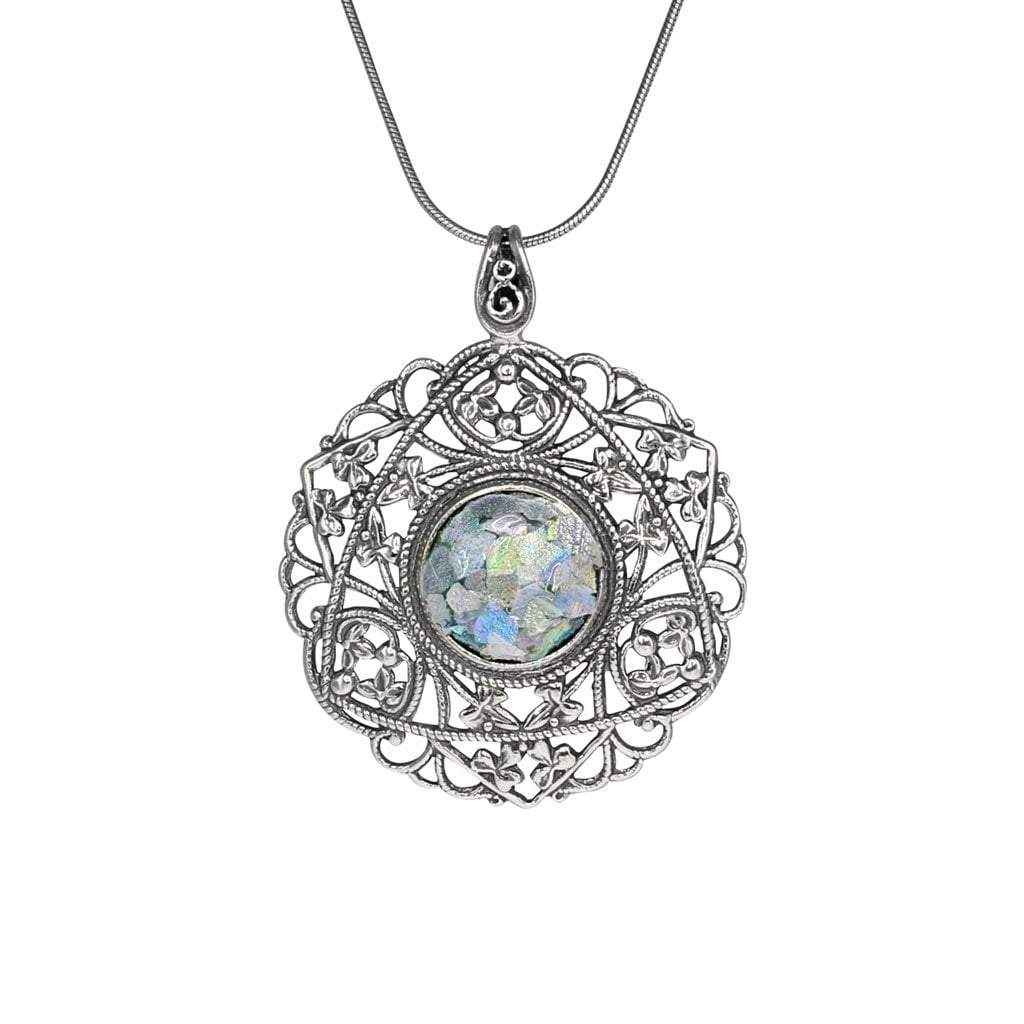 Roman Glass Jewelry Pendants Default Title / Green Roman Glass Round Pendant in Detailed Sterling Silver