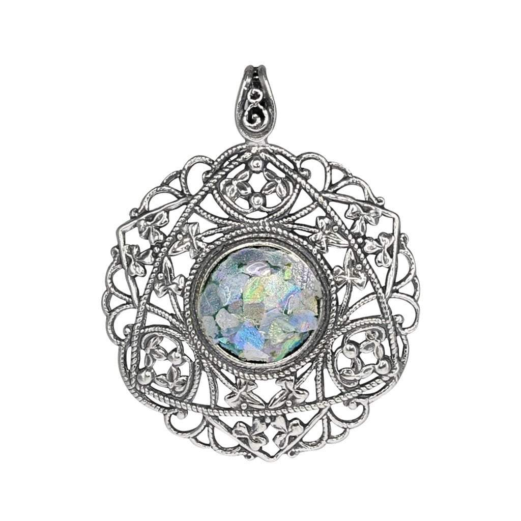 Roman Glass Round Pendant in Detailed Sterling Silver