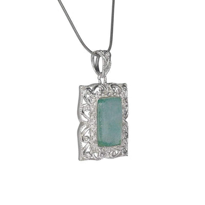 Translucent Framed Roman Glass Pendant in Detailed Sterling Silver