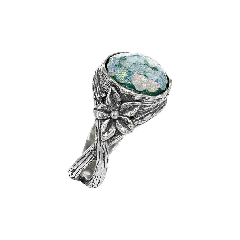 Roman Glass Dome Ring with Silver Flower Detail