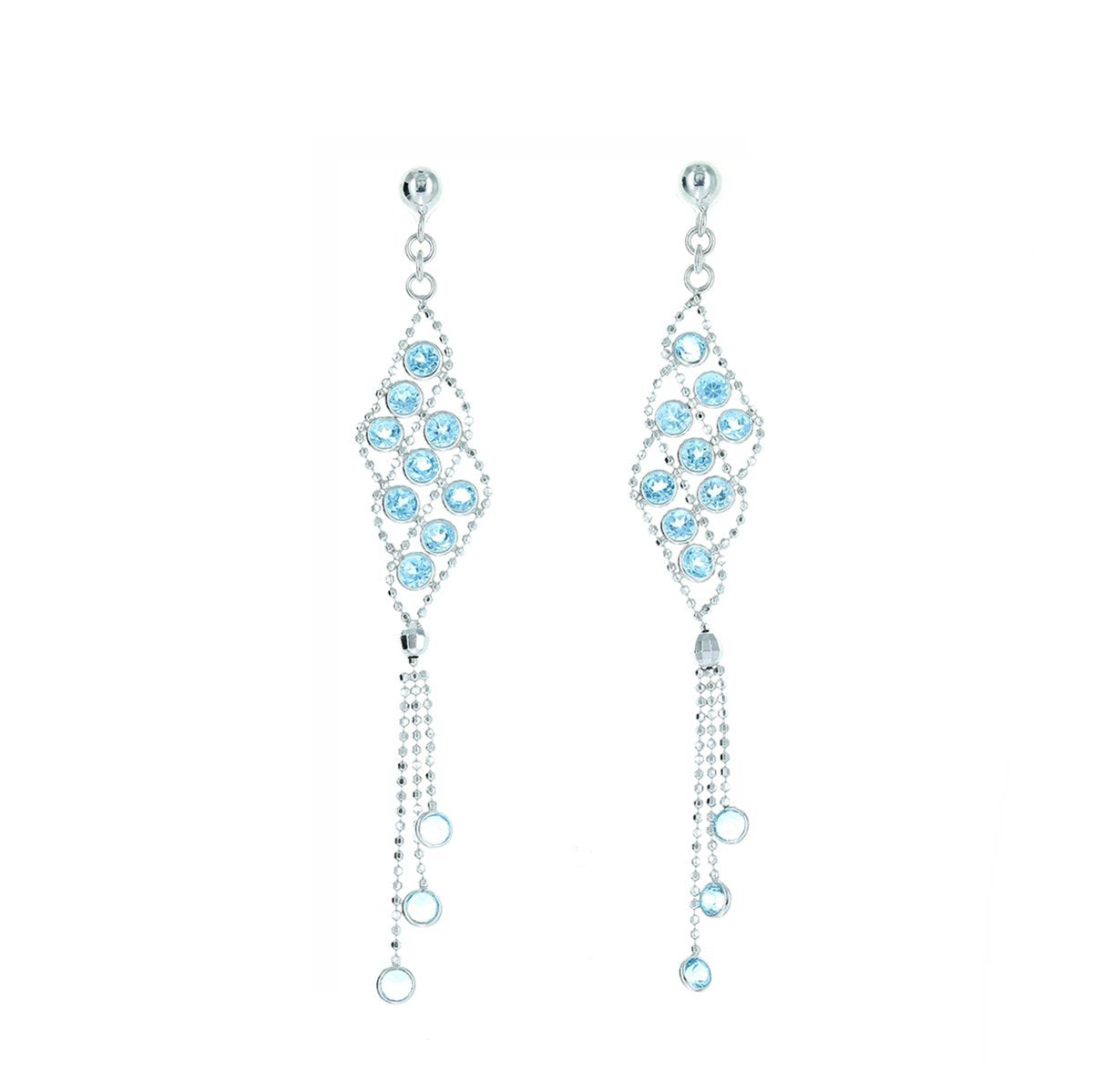 Silk Collection Dangle Earrings with Swiss Blue Topaz Accents