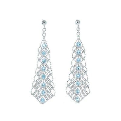 Silk Collection handelier Earrings with Swiss Blue Topaz Accents