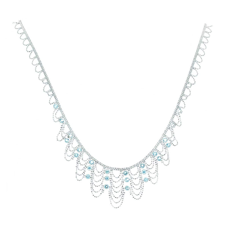 Silk Collection Crown Necklace with Blue Topaz Accents