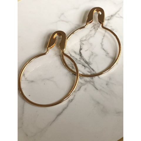 Safety Pin Gold Hoops