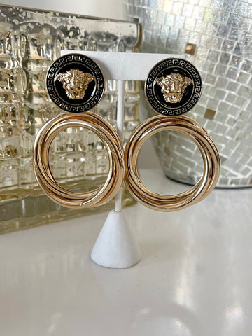 Black Versace Vibez Drop | Earrings