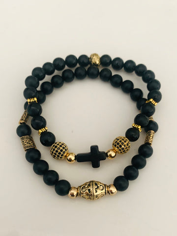 Matte Black Beaded | Men's Bracelet Set