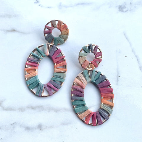 Rainbow Burst Oval Earring