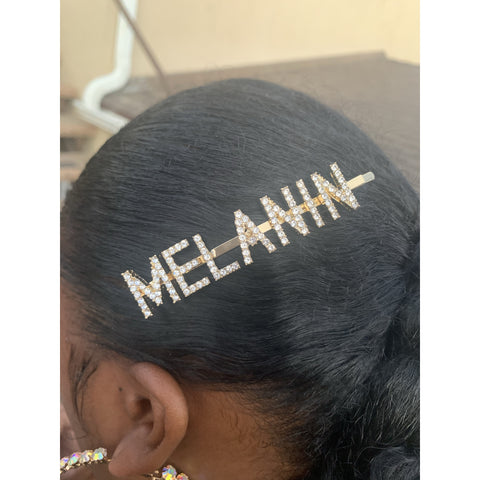 Melanin Hair Pin | Gold Crystal